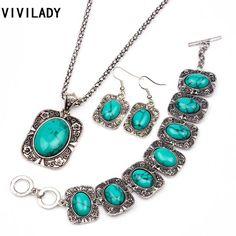 VIVILADY 3pcs Natural Turquoise Oval Stone Jewelry Sets Women Pattern Flower Retro Long Necklace Bracelet Earrings Gifts md67 | Price: US $3.53 | http://www.bestali.com/goto/1861513272/10