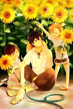 Barakamon   Seishuu Handa, Naru Kotoishi, Hina Kubota   Anime   Fanart   SailorMeowMeow