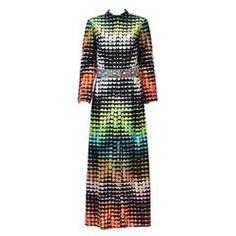 1960s Valentina Ltd. Colorful Pixelated Print Dress