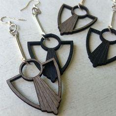 ART DECO ANCHOR FAN Green Tree Jewelry laser-cut wood earrings CHOOSE COLOR 1076 #GreenTreeJewelry #DropDangle
