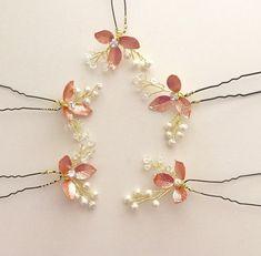 5 Rose Gold hair pins Pearl hair pins bridal hair by amuandpri