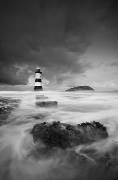 'Beacon In A Storm' - Black Point, Penmon by Kris Williams, via Kris Williams, Anglesey, The Rock, Landscape Photography, Clouds, Sunset, Lighthouses, Oceans, Nautical