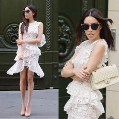Get this look: http://lb.nu/look/8793871  More looks by Claudia Salinas: http://lb.nu/misssalinas  Items in this look:  Alexis Arleigh Dress, Christian Dior Wildly Sunnies, Chanel Classic Flap Bag, Christian Louboutin So Kate   #chic #classic #street #littlewhitedress #ruffles #claudiasalinas #nudeshoes #misssalinas #mexicanblogger