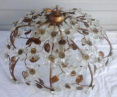 Vintage Crystal Glass Prisms Flower *Leaves *Chandelier Pendent Light Fixture