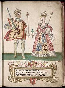 Isabella of Mar (modern Scottish Gaelic: Iseabail) (c. 1277 – 12 December 1296) was the first wife of Robert the Bruce and the grandmother of Robert II of Scotland, founder of the royal House of Stuart. She died before Robert was crowned King of Scots, and never became Queen.