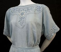 Hand-embroidered linen blouse & skirt, c.1915, blouse detail
