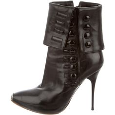 Alexander McQueen Ankle Boots ($380) ❤ liked on Polyvore featuring shoes, boots, ankle booties, black, leather booties, black buckle boots, black ankle boots, black ankle booties and black leather ankle booties