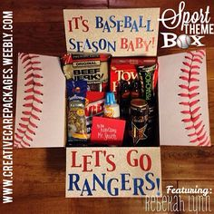 Fitness/Sport Theme Boxes-Creative Care Packages {military care package ideas} Foot ball theme instead! Baseball Boyfriend Gifts, Baseball Gift Basket, Baseball Gifts, Baseball Stuff, College Boyfriend Gifts, Baseball Snacks, Baseball Memes, Boyfriend Boyfriend, Baseball Boys