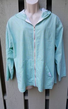 Fresh Produce Women's Hooded Jacket Medium Zip Cotton Aqua Lime #FreshProduce #Lightweightjacket #Casual