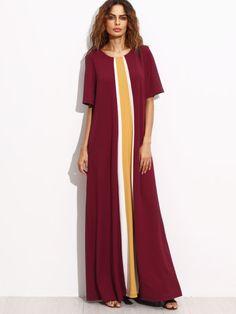 Contrast Panel Pleated Back Floor Length Dress