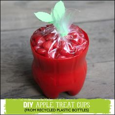 Recycled Plastic Bottle Projects to Make including tutorial for this cute #backtoschool apple treat cup @savedbyloves