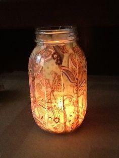 Mason Jar Fabric Candle/tea light holder