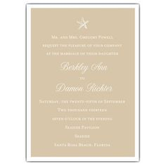 Beach Starfish Taupe Wedding Invitations; the back side is light blue and detailed with white starfish outlines.
