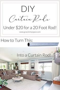 Trendy Diy Home Decor On A Budget Easy Bedrooms Curtain Rods Diy Home Decor For Apartments, Diy Home Decor On A Budget, Unique Home Decor, Cheap Home Decor, Large Window Curtains, Sunroom Windows, Large Windows, Farmhouse Windows, Cheap Curtain Rods