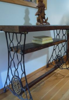 Reclaimed Redwood Console Table With Vintage Singer Sewing Machine Legs