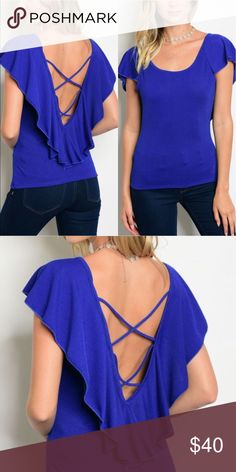 🆕🌻 Royal Blue Ruffle Open Back Top Brand new with tags!! 1 Small, 1 Medium & 1 Large available. 95% Polyester, 5% Spandex. Made in the USA!! 🇺🇸 Tops