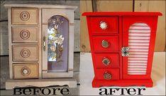 Refurbished jewelry box! Full how to at http:untilwednesdaycalls.blogspot.com #DIY #crafts #storage #accessory storage #jewelry box
