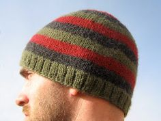 "Ravelry: ""Oliver"" Jogless Stripes Beanie pattern by Amy Andersen Beanie Knitting Patterns Free, Beanie Pattern, Knit Patterns, Free Knitting, Crochet Baby Booties, Knit Crochet, Crochet Hats, Crochet Ideas, Mens Knit Beanie"