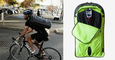 Henty Wingman Bag - An absolutely genius all weather suit bag for cyclists and commuters. Carries suits, dresses, shirts on the outside and all of your other gubbins (ipad, shoes, books, etc) on the inside. Then rolls around the middle bag to protect your clothes from creasing! Throw it over your shoulder and your off!