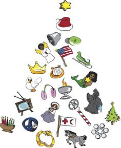 Illustrated versions of all 25 ornmanet shapes that are included in the Original Unitarian Universalist Advent Calendar a created, produce and sell at uuadvent.com