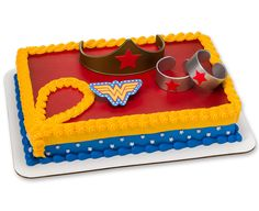[Batman Birthday Party] Wonder Woman Strength & Power Cake Decoration Kit -- Click image for more details. (This is an affiliate link) Wonder Woman Birthday Cake, Wonder Woman Cake, Wonder Woman Party, Birthday Woman, Wonder Woman Kuchen, Pastel Rectangular, Bmx Cake, Cake Kit, Hazelnut Cake