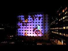Go2 Productions - 3D Projection Mapping - Maritime Hotel - The location of this event was the The Maritime Hotel, in the very trendy Chelsea area of New York City. We began designing the look and feel of the massive 3D animation to be projected. The idea was to have the building taken over by Keith Haring artwork supplied to us by the Keith Haring Foundation. The high impact 3D animation & visual effects for this one took our artists a total of 4 weeks to produce.