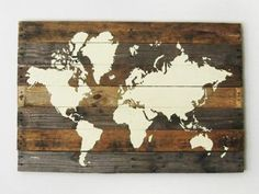 Rustic wood world map rustic decor farmhouse decor rustic nursery pallet board world map gumiabroncs Choice Image