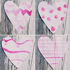 Watercolor patterned hearts - a simple valentines craft to do with the kids!