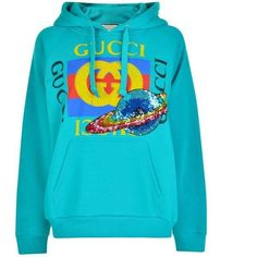 Gucci Planet Hooded Sweatshirt (13.850.710 IDR) ❤ liked on Polyvore featuring tops, hoodies, teal blue, blue sequin top, sequin embellished top, gucci, sequin hoodies and blue top