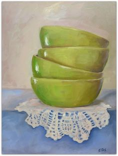 Four Green Bowls by Elaine Brady Smith, 9 x 12 still life oil painting on panel