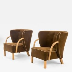 Viggo Boesen Attributed A Pair of Rare Upholstered Danish Chairs for Slagelse Mobelvaerk
