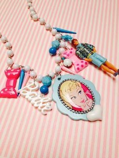 Spring Sale Save 25% Barbie and ken charm Necklace Whimsical kawaii colorful pastel statement art piece Vintage upcycled toys mixed media