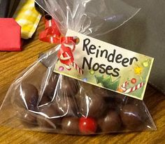 Reindeer Noses - chocolate malt balls and a red gumball.  What a cute idea!