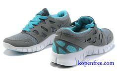 Kopen goedkoop Schoenen dames nike free run 2 (kleur:vamp-grijs;inside-blauw;logo,tong-wit) online in nederland.