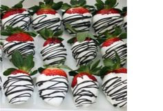 Chocolate covered strawberries to look like zebra stripes
