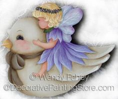 Baby Garden Fairy - E-Packet - Wendy Fahey Christmas Wood Crafts, Stained Glass Angel, Tole Painting Patterns, Cute Fairy, Painted Ornaments, Garden In The Woods, Fairy Dress, Scroll Saw Patterns, Online Painting