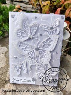 """Double carte de félicitations artisanale 3D """"Papillons blancs"""" Stampin'Up© (Lot: Abondance de beauté 149820) / 3D Congratulations Stampin'Up© handmade double card """"White butterflies"""" (Beauty Abound Bundle)"""