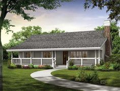 Country Ranch Traditional House Plan 20227 | House plans, Front ...