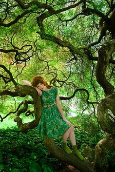 green vintage dress and a beautiful tree to rest upon