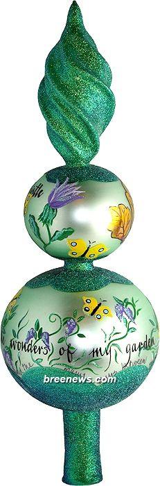 Jasminka's Garden Finial (Green, Pink Roses) Patricia Breen Designs (Butterflies, Flowers, Gold, Green, Pink, Purple, Yellow)
