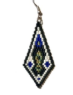 4.8 cm x 2.2 cm - super lightweight (less than 1 gram) - size 11 Miyuki Delica (Japanese glass) beads Each piece is individually handwoven to order - one bead at a time, stitched together with 6 lb fire line, or fishing line. So the colors can be adjusted or made as they appear in