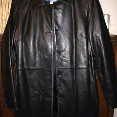 Black Nine West leather jacket Jacket with side pockets and buttons done Nine West Jackets & Coats Trench Coats