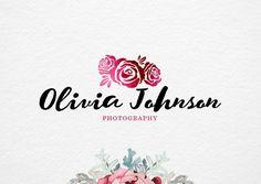 Pre made Rose Logo hand drawn logo Photography Logo Design