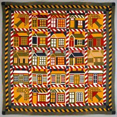 """""""Houses and Pine Trees"""" quilt, unknown artist, American, Cotton. -- First Glance/Second Look: Quilts from the Denver Art Museum Collection Old Quilts, Antique Quilts, Vintage Quilts, Vintage Houses, Quilt Modernen, Geometric Quilt, Yellow Quilts, American Quilt, Halloween Quilts"""