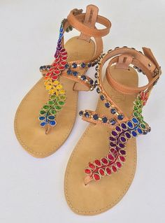 "Boho Leather Sandals ""Gypsy Spell"", Colorful Strappy Sandals, Handmade Greek Sandals FREE SHIPPING"
