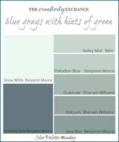 Blue grays with a hint of green, love these types of color.