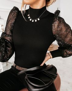 Sequin Mesh Patchwork Ribbed Sweater Women's Online Shopping Offering Huge Discounts on Dresses, Lingerie , Jumpsuits , Swimwear, Tops and More. Trend Fashion, Look Fashion, Womens Fashion, Ribbed Sweater, Cropped Sweater, Tops Online Shopping, Party Shirts, Looks Style, Elegant Woman