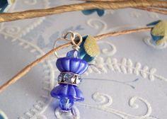 handmade vintage blue and crystal earrings  by EchoEndeavor, $13.50