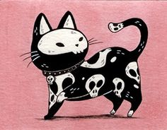 Daily scary cat drawings during October.