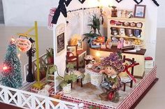 DIY Wooden Dollhouse Miniature Kit w/LED Light/Music box/furnitures/ to children